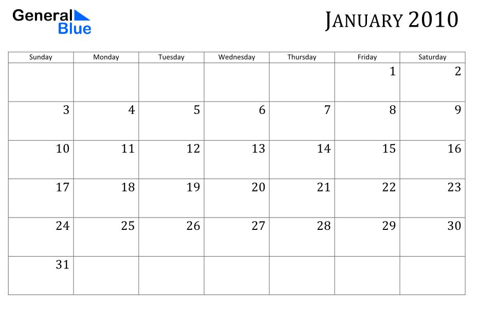 Calendar January 2010
